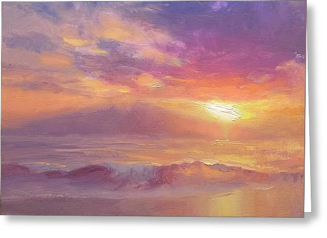 Maui To Molokai Hawaiian Sunset Beach And Ocean Impressionistic Landscape Greeting Card by Karen Whitworth