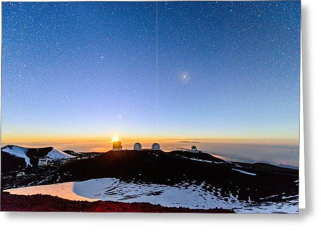 Mauna Kea Moonset 1 Greeting Card