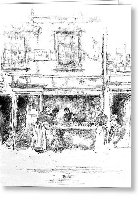 Maunder's Fish Shop Chelsea 1890 Greeting Card by Padre Art