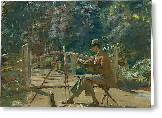 Maurice Codner Sketching By The Bridge At Wiston Greeting Card