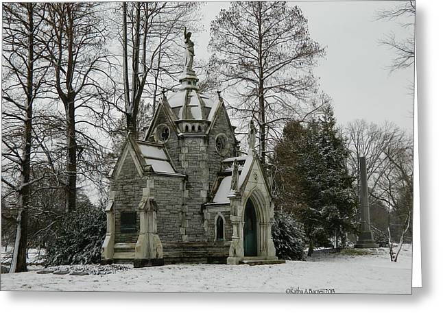 Mausoleum In Winter Greeting Card by Kathy Barney