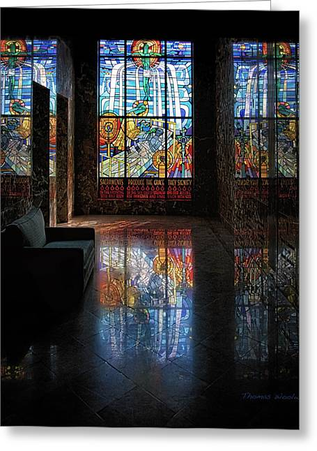Mausoleum Stained Glass 08 Greeting Card by Thomas Woolworth