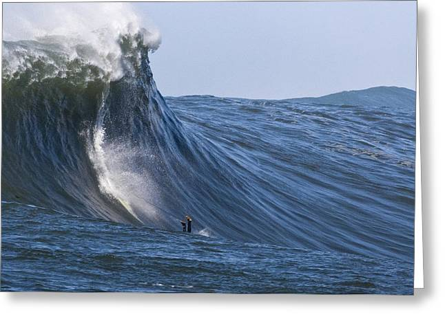 Mavericks Surfer Anthony Tashnik Takes A Dive Greeting Card by Scott Lenhart
