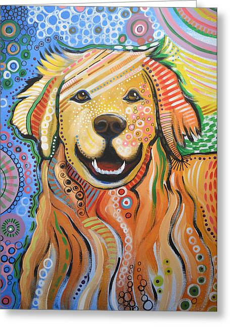 Max ... Abstract Dog Art...golden Retriever Greeting Card by Amy Giacomelli