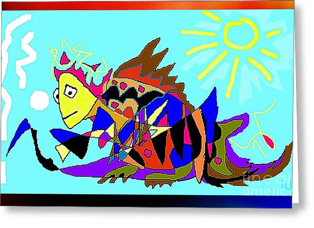 Greeting Card featuring the digital art Max The Magic Dragon by Hartmut Jager