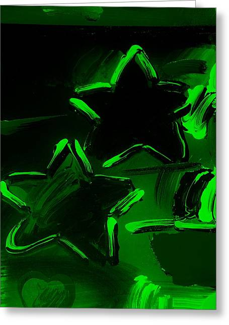 Max Two Stars In Green Greeting Card by Rob Hans