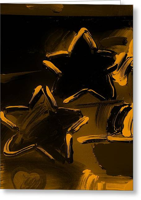 Max Two Stars In Orange Greeting Card by Rob Hans