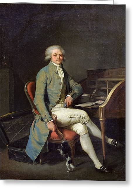 Maximilien De Robespierre 1758-94 Oil On Canvas Greeting Card by Louis Leopold Boilly