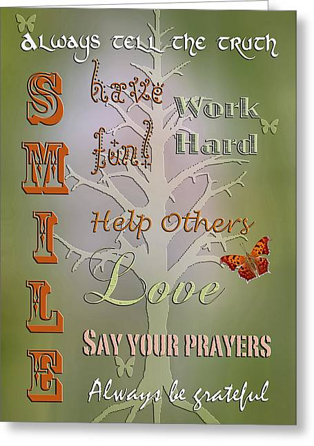 Maxims To Live By Greeting Card by Bonnie Barry