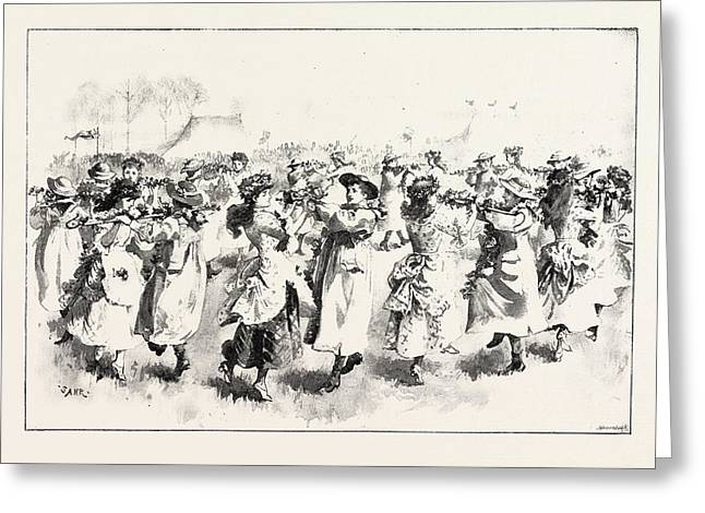 May-day Festivities A Pastoral Dance At St Greeting Card by English School