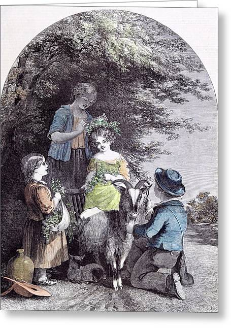 May G.w. Willis Children Goat Pastoral Spring Greeting Card by English School
