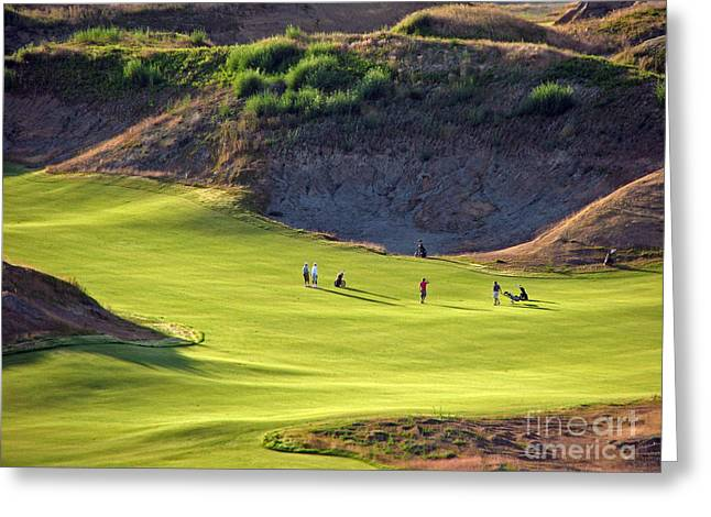 Greeting Card featuring the photograph May I Play Through? - Chambers Bay Golf Course by Chris Anderson