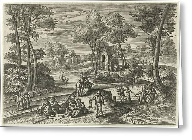 May, Julius Goltzius, Gillis Mostaert Greeting Card by Julius Goltzius And Gillis Mostaert (i) And Hans Van Luyck