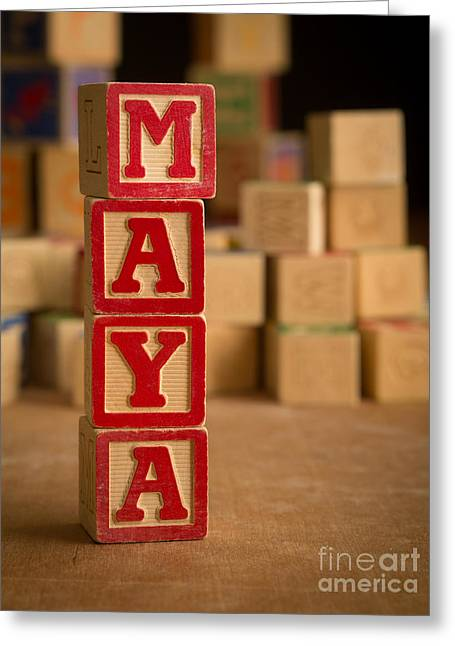 Maya - Alphabet Blocks Greeting Card by Edward Fielding