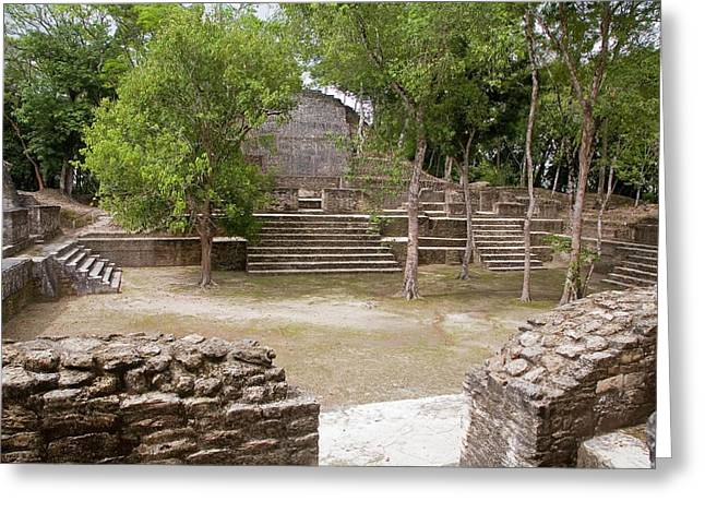 Maya Plaza And Temple Greeting Card by Jim West