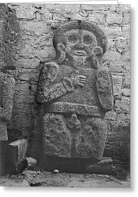 Mayan Carved Statue Greeting Card by American Philosophical Society