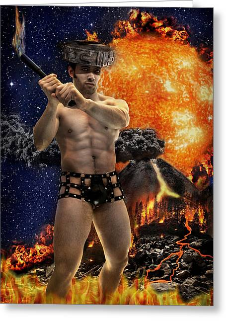 Mayan Fire God Greeting Card by John Clum