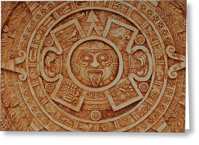Aztec Sun God Greeting Card by Brandon Bourdages
