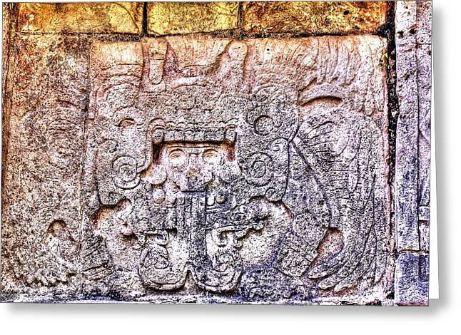 Mayan Hieroglyphic Carving Greeting Card by Paul Williams