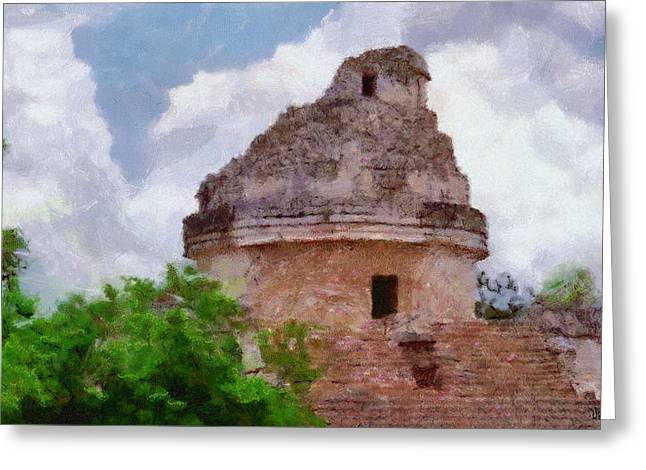 Mayan Observatory Greeting Card by Jeff Kolker