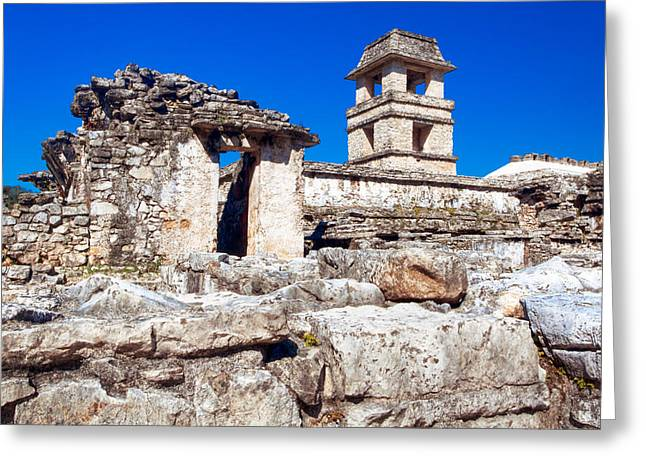 Mayan Ruins Of The Palacio At Palenque Greeting Card