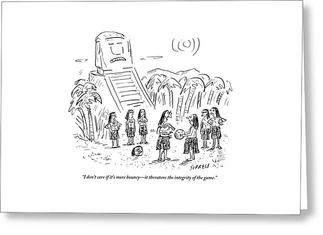 Mayans Play A Primitive Version Of Basketball Greeting Card by David Sipress