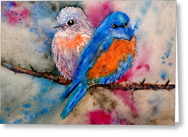 Maybe She's A Bluebird Greeting Card by Beverley Harper Tinsley