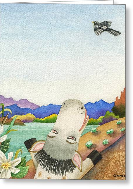 Maybe Spike Can Fly Greeting Card by Anne Gifford