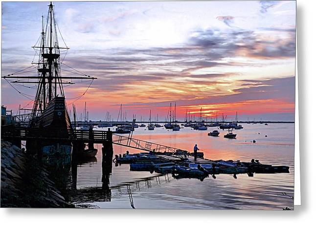 Greeting Card featuring the photograph Mayflower II At Sunrise by Janice Drew