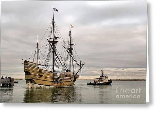 Mayflower II Under Tow 12 12 14 Greeting Card by Janice Drew