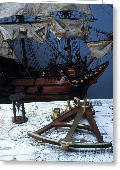 Mayflower Model With Quadrant Greeting Card by Fred Maroon
