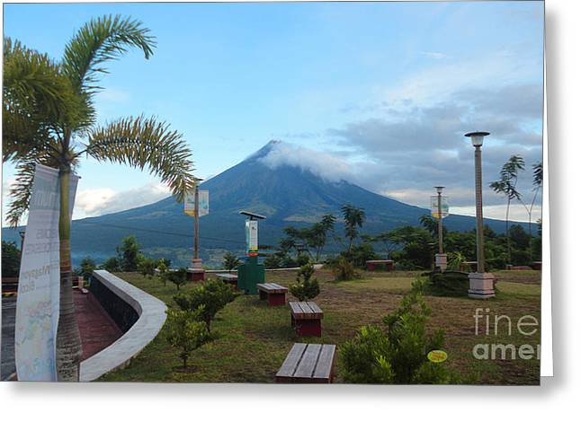 Mayon At Lignon Hill Greeting Card by Manuel Cadag