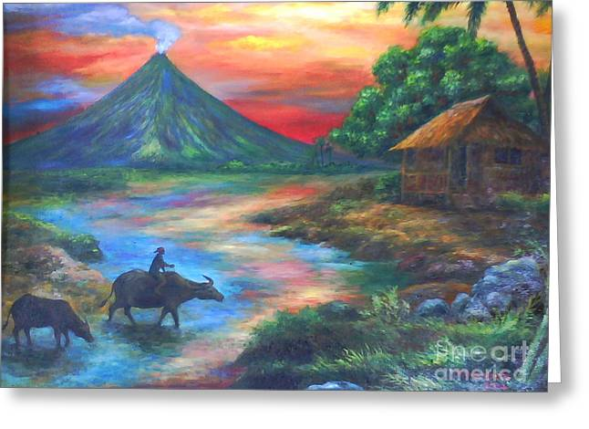 mayon sunset-repro from Amorsolo's work Greeting Card by Manuel Cadag