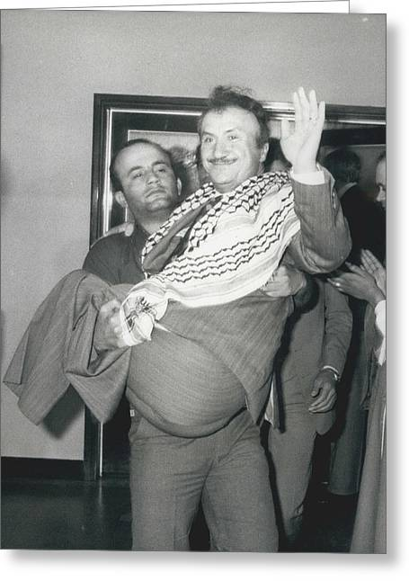 Mayor Of Israeli Occupied Nablus Arrives In London For Greeting Card by Retro Images Archive