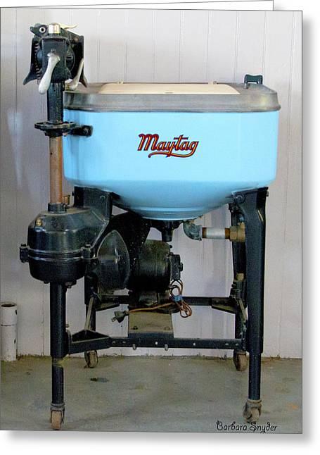Maytag Washing Machine Greeting Card by Barbara Snyder