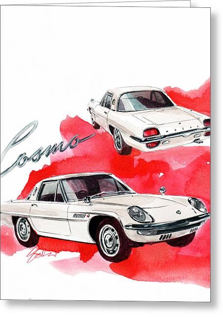 Mazda Cosmo Sport Greeting Card by Yoshiharu Miyakawa