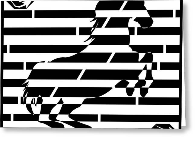 Maze Of 746 Watts 1 Horsepower Maze  Greeting Card by Yonatan Frimer Maze Artist