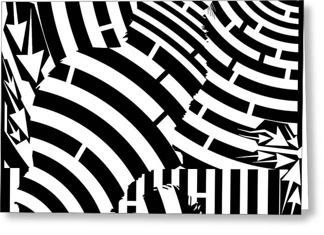 Maze Of Cat On Fence Op Art Greeting Card by Maze Op Art Artist