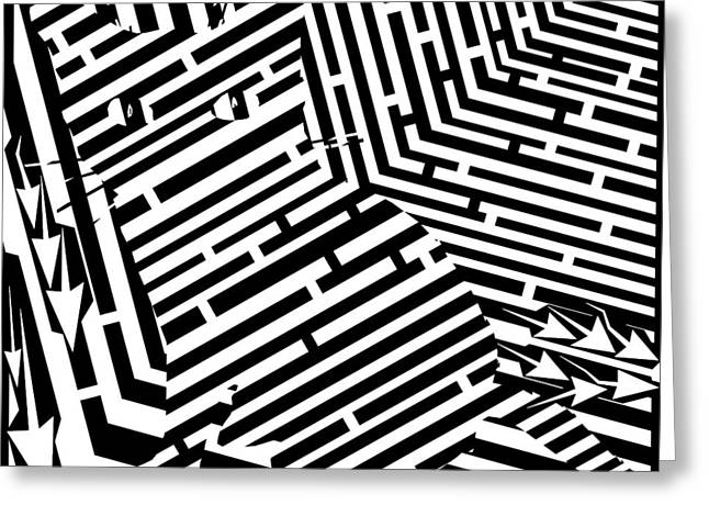 Maze Of Snarly The Cat Greeting Card by Yonatan Frimer Maze Artist