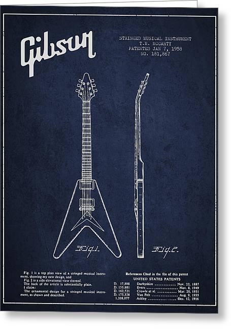 Mccarty Gibson Electric Guitar Patent Drawing From 1958 - Navy Blue Greeting Card