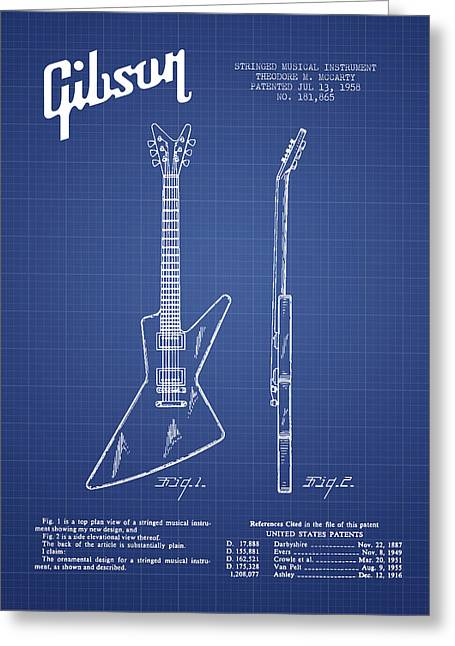 Mccarty Gibson Electrical Guitar Patent From 1958 - Blueprint Greeting Card