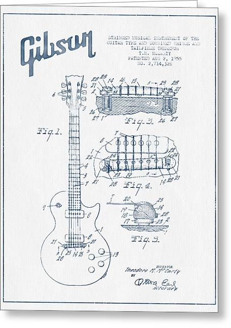 Mccarty Gibson Les Paul Guitar Patent Drawing From 1955 - Blue I Greeting Card