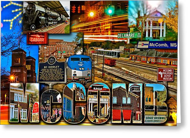Mccomb Mississippi Postcard 2 Greeting Card