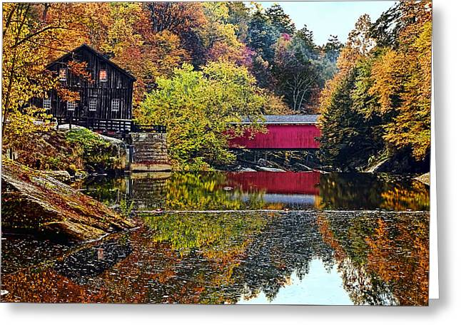 Mcconnell's Mill And Covered Bridge Greeting Card by Marcia Colelli