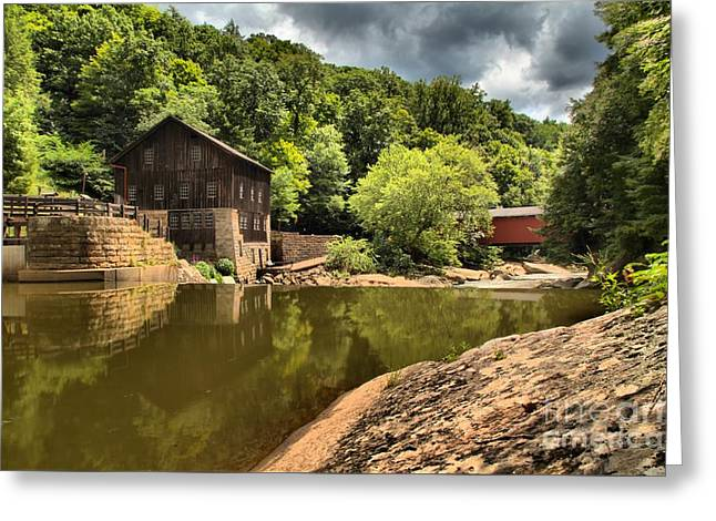 Mcconnells Mill Landscape Greeting Card by Adam Jewell