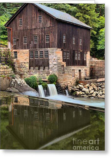 Mcconnells Mill Reflections Greeting Card by Adam Jewell