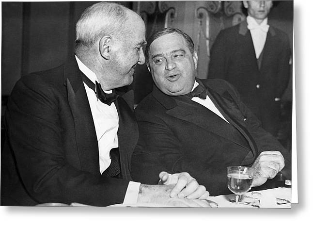 Mccook And Mayor Laguardia Greeting Card by Underwood Archives