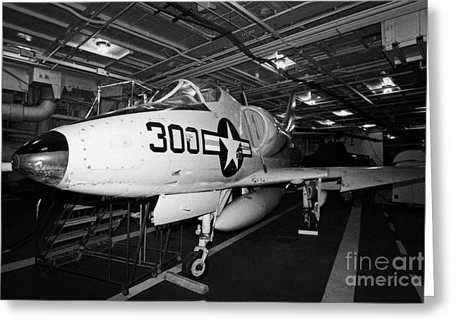Mcdonnell Douglas A4b A4 Skyhawk On The Hangar Deck Of The Intrepid Sea Air Space Museum Greeting Card