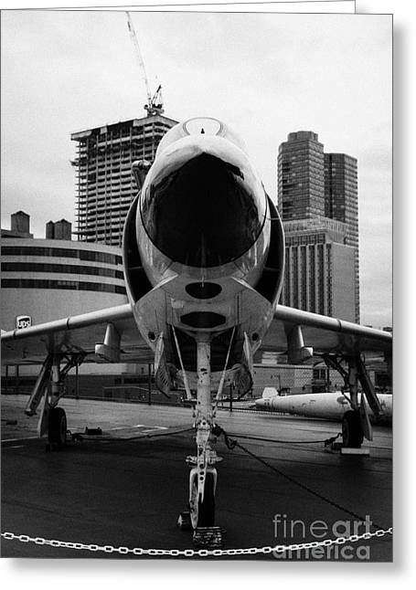 Mcdonnell F3h 2n F3b F3 Demon On The Flight Deck On Display At The Intrepid Sea Air Space Museum Greeting Card by Joe Fox