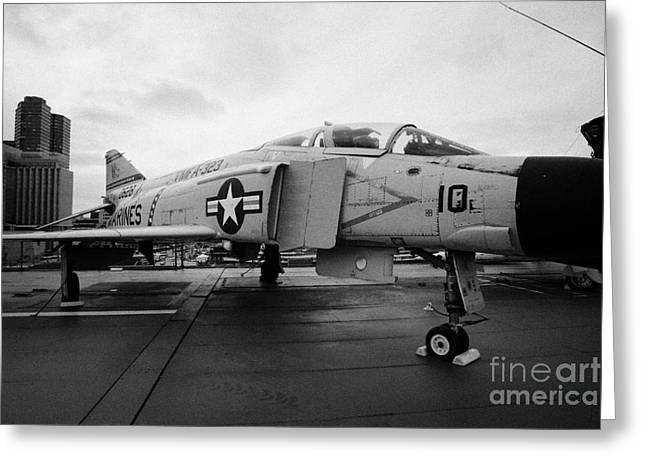 Mcdonnell F4n F4 Phantom On Display On The Flight Deck At The Intrepid Sea Air Space Museum Greeting Card by Joe Fox
